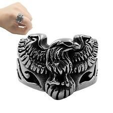 1PC Stainless Steel Biker Ring Eagle Retro Ring Punk Hiphop Biker Signet Ring