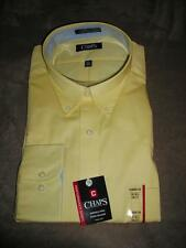 Mens CHAPS Classic-Fit, Twill, Yellow, Button Collar Casual /Dress Shirt~$50~NWT