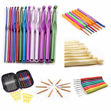 8 Style Aluminium Crochet Hooks Bamboo Knitting Needles Knitting Wool Yarn Set