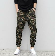 Stylish Mens Casual Camo Harem Pants Baggy Jogger Slacks Ankle-tied Trousers NEW