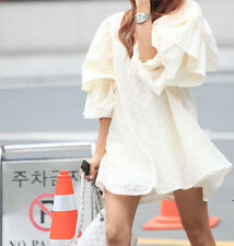 Women`s Oversize Puff Embroidered Lace Tunic Ivory Mini Dress Top 100%Cotton S,M