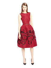 $5490 New Oscar de la Renta CLARET Red SILK FAILLE DRESS w Floral Skirt  0 2