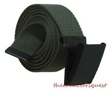 NEW 1.5 inch WIDE FLIPTOP ADJUSTABLE GREEN CANVAS MILITARY WEB BLACK BELT BUCKLE