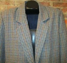 Womens Jacket Sz M Wool Blend Houndstooth Plaid Tweed Blazer w/Leather Buttons