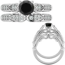 1.25 Ct Black Diamond Designer Wedding Promise Ladies Ring + Band 14K White Gold