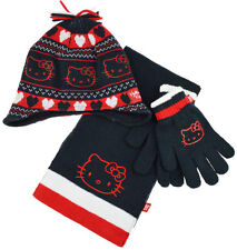 Girls Hello Kitty 3pc Winter Hat, Glove and Scarf Set