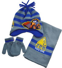 Childrens 3pc JCB Winter Beanie Hat, Gloves (mittens) and Scarf Set - 1 to 6 yrs