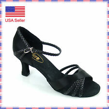 "ST1008 2"" Black Ballroom Latin Salsa Dance Sandals Shoes Sz 7.5 (defective)"