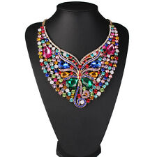 New Fashion Luxury Multi-color Crystal Butterfly Statement Women Bib Necklace