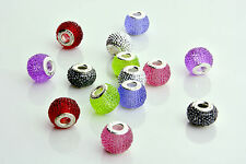 Silver Rhinestone Crystal Charms Beads fit European Charm Bracelets 2 Pieces