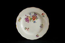 19th CENTURY MEISSEN PLATE HAND PAINTED WITH FLOWERS - ANTIQUE