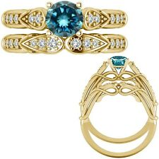 1.25 Ct Blue Diamond Designer Wedding Promise Ladies Ring + Band 14K Yellow Gold