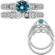 1.25 Ct Blue Diamond Designer Wedding Promise Ladies Ring + Band 14K White Gold