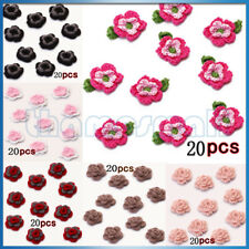 20pcs Handmade Crochet Flower Appliques Sewing Craft Bag Hat Clothing Decor