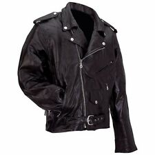 Men's Genuine Buffalo Leather Motorcycle Jacket Rock Design W/ Zip Out Liner