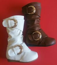 New Toddler Flat Slouchy Mid Calf Casual Dress Boots Withe & Tan Sizes 4-8 US