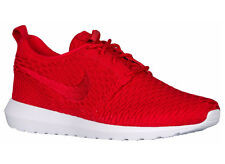 NEW MENS NIKE ROSHE FLYKNIT RUNNING SHOES TRAINERS UNIVERSITY RED / WHITE