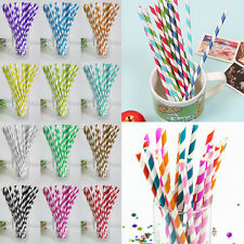 25pcs Parties Wedding Tableware Disposable Biodegradable Paper Striped Straws