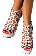 Women Pyramid Studded Wedges Faux Leather Gladiator Sandal Strappy Platform Pump