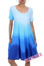 PLUS SIZE STUNNING BLUE SHORT SLEEVE TIE DYE OMBRE MINI DRESS W/POCKETS 1X 2X 3X