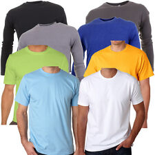 Mens Soft Cotton Long Sleeve Or Short Sleeve T-Shirt Casual Top In 8 Colours