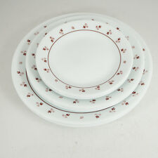 Set of 12 Corelle Burgundy Plates - 4 Dinner - 4 Salad - 4 Bread and Butter