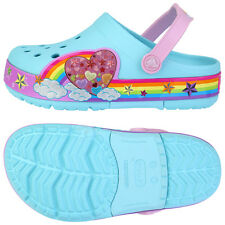 Crocs Lights Rainbow Heart Kids Clogs Slip on Summer Water Shoes Blue 202662-409