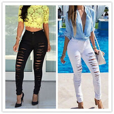 Women Sexy Slim Long Pencil Trousers Denim Skinny Stretch Pants Ripped Jeans New