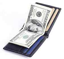 Men Genuine leather Slim Wallet Money Clip ID Credit Card Holder Coin Pocket