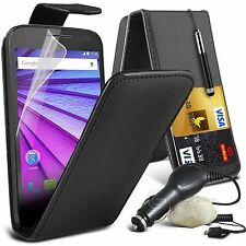 Top Flip PU Leather Phone Case Skin Cover+In Car Charger for HTC