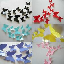 12pcs 3D Butterfly Wall Stickers Butterflies Docors Art DIY Decoration Paper DIY