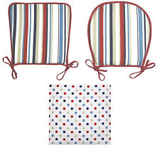 Seat Pad 100% Cotton Striped Polka Dot Reverse Garden Cushion Round Square