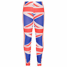 Girls Union Jack Legging Kids Children Full Length British Flag Leggings 7-13 Y