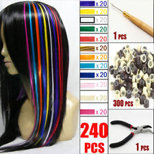 Solid Feather Hair Extensions Wits Free Beads & Hook Women Girl Party Make-up