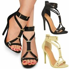 Ladies Womens High Heel Stiletto Sandals Ankle Strap Cuff Party Court Shoes Size