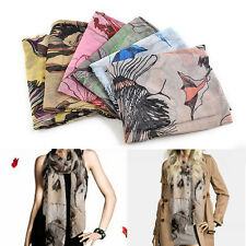 Fashion Women Lady Soft Series Begonia Voile Ink Flower Cotton Shawl Neck Scarf
