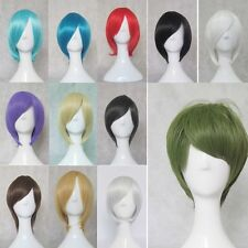 14 Colors New Fashion Short Straight Man/Women Wig Cosplay Party Wigs +free cap