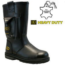 HD MENS LEATHER SAFETY STEEL TOE CAP FUR LINED MIDSOLE RIGGER WORK BOOTS SIZE