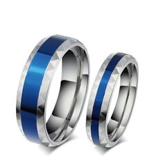Forever Lovers Titanium Steel Couple Rings Silver&Blue Wedding Band Promise Gift