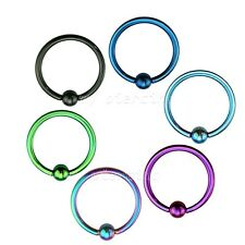 "2pc.16G~1/4"" - 1/2"" Anodized 316L Captive Bead Ring Ears Cartilage Labret Septum"