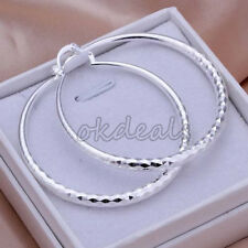 Elegant Women Fashion Silver Plated Circle Hoop Earrings/Rose Flower Ear Studs