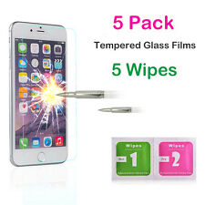 5X 10X Wholesale Lot Tempered Glass Screen Protector For iPhone 4 5 SE 6 6s Plus