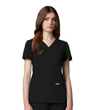 Greys Anatomy 4153 Black Junior Fit  3 Pocket Mock Wrap Scrub Top