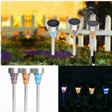 Garden Mosaic Solar Power LED Light Outdoor Lawn Stainless Steel Lamp