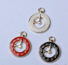 New Enamel Gold Tone Hollow watch Alloy Charm Pendant Jewelry DIY Making 26x20mm