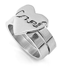 Etch Love Heart Ring, 316L Stainless Steel, Promise Gift w FREE Box, Elegant Hot