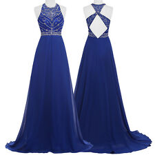 Long Chiffon Bridesmaid Evening Formal Party Cocktail Dress Sleeveless Prom Gown