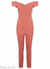 Miss Selfridge Coral Bardot Jumpsuit Size 8 to 16