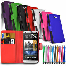 HTC Desire 630 - Leather Wallet Card Slot Case Cover & Stylus