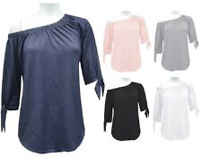 New Ladies Off The Shoulder Blouse Top Shirt Cropped Tie Up Sleeves Top